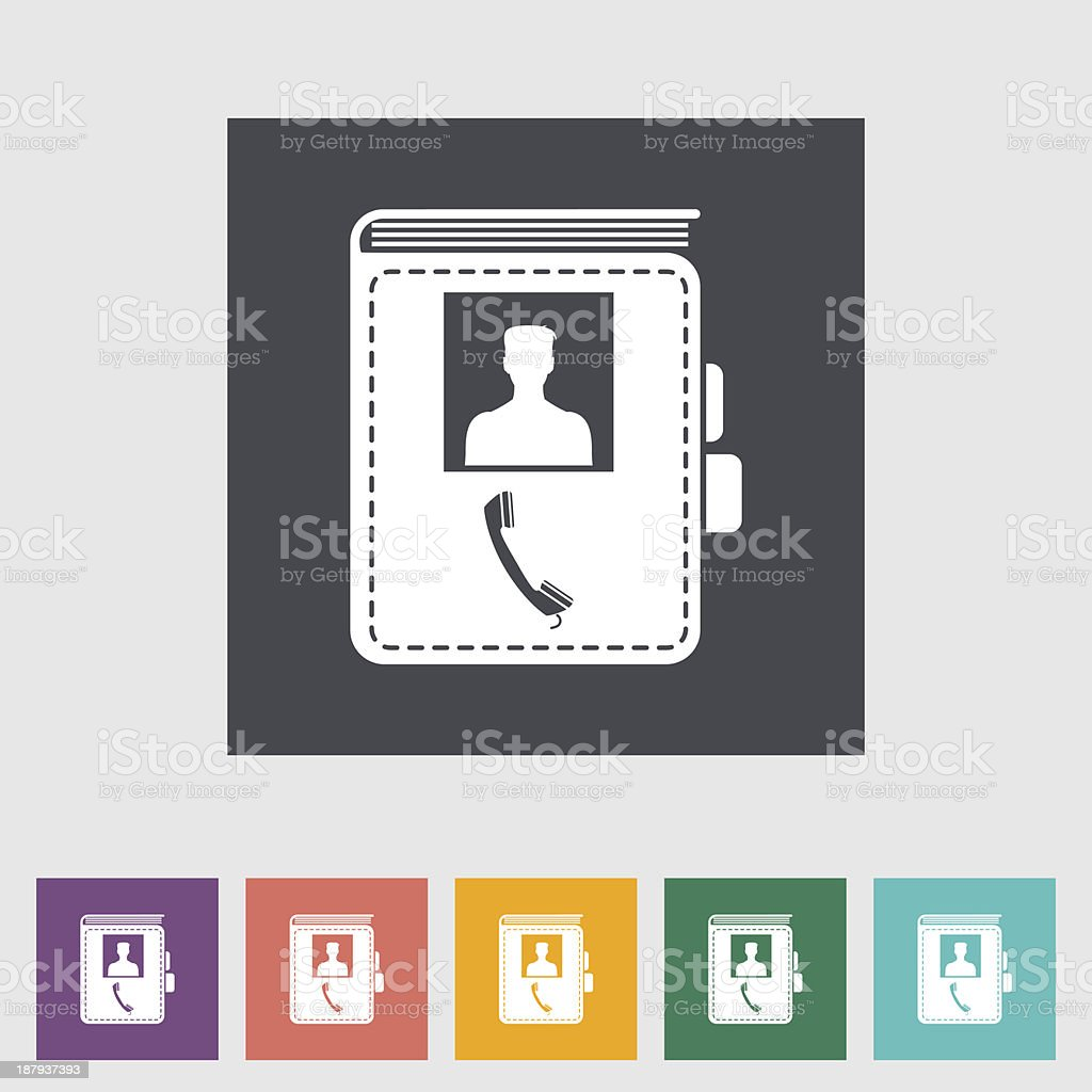 Contact book single flat icon. royalty-free stock vector art