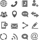 Contact communication icons set