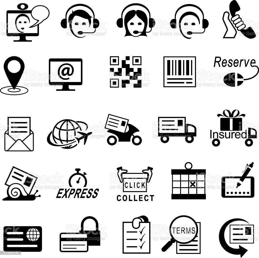 Contact, Customer Services and Courier Icons - ilustração de arte em vetor