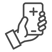 Contact doctor online line icon. Hand hold smartphone with cross symbol, outline style pictogram on white background. Emergency coronavirus consultation sign for mobile concept, web design
