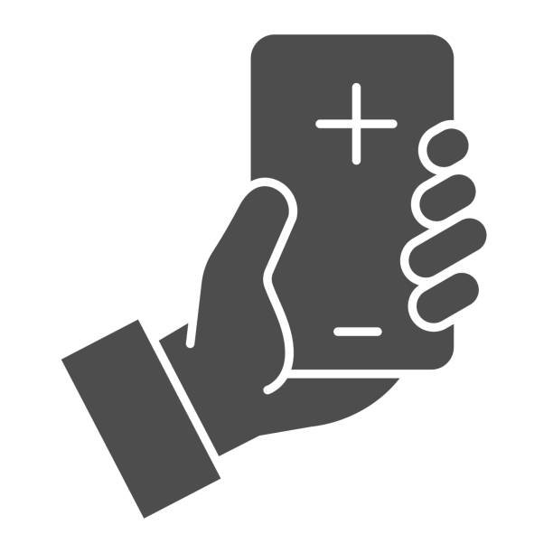 Contact doctor online solid icon. Hand hold smartphone with cross symbol, glyph style pictogram on white background. Emergency coronavirus consultation sign for mobile concept, web design. Contact doctor online solid icon. Hand hold smartphone with cross symbol, glyph style pictogram on white background. Emergency coronavirus consultation sign for mobile concept, web design medical technology stock illustrations