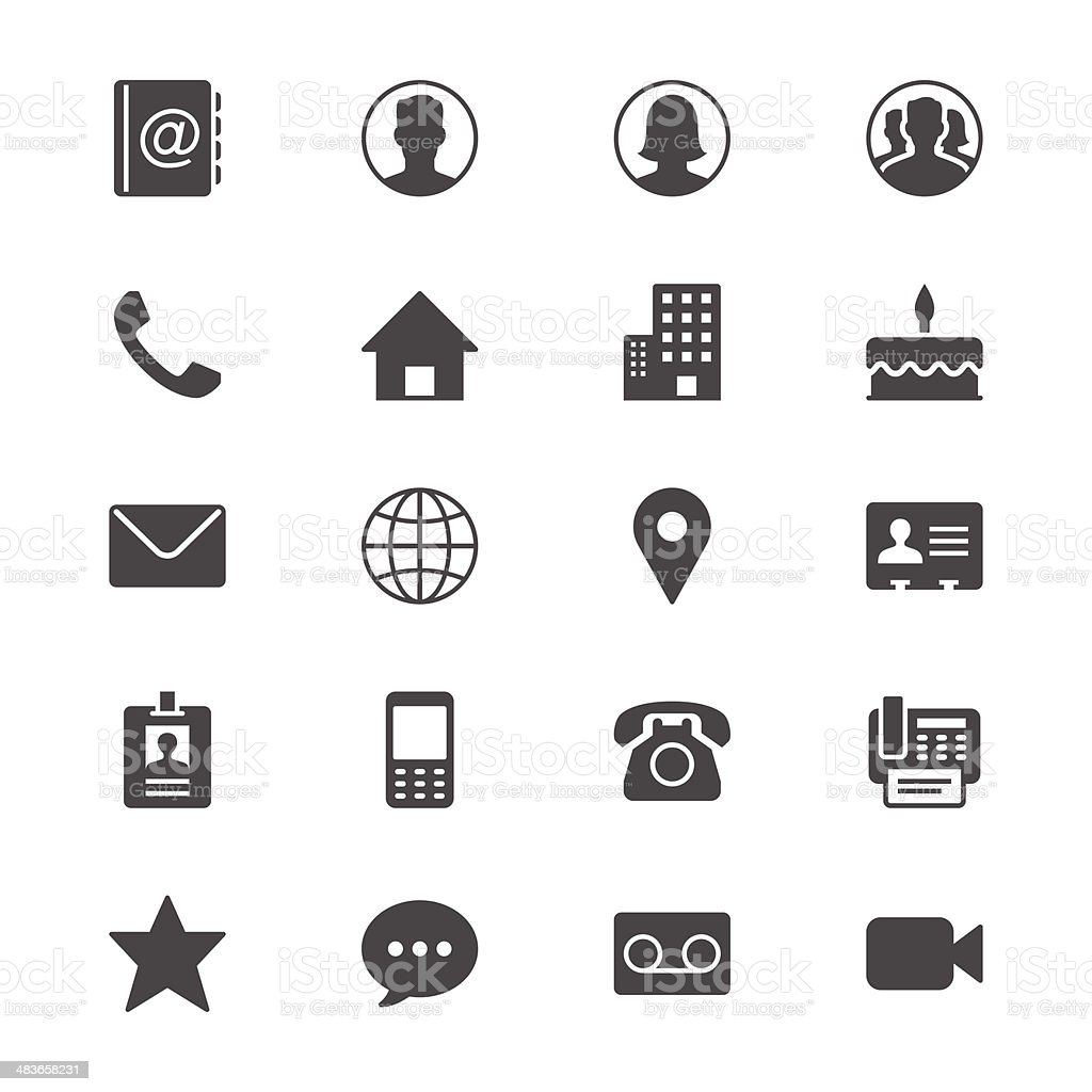 Contact flat icons vector art illustration