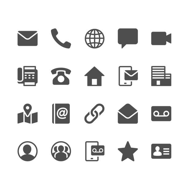 contact glyph icons - telefon stock illustrations