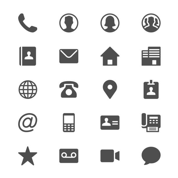 Contact glyph icons vector art illustration