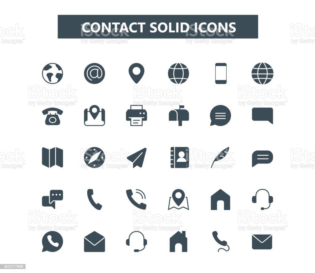 Póngase en contacto con los iconos mini glifo. rejilla de 24 x 24. Pixel Perfect - arte vectorial de Alfiler libre de derechos