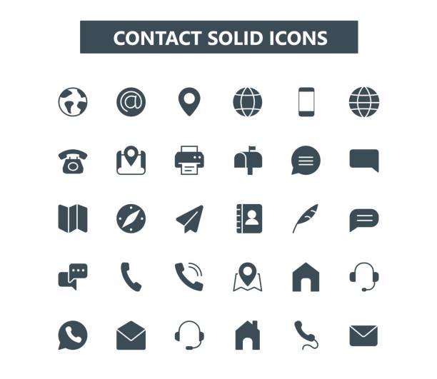stockillustraties, clipart, cartoons en iconen met neem contact op met de glyph mini-pictogrammen. 24 x 24 raster. pixel perfect - vaste stof