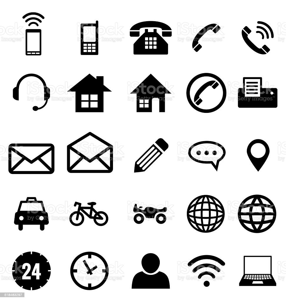 Contact icon collection vector for business vector art illustration