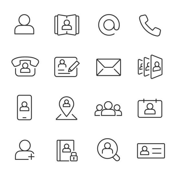 Contact, icon set. Communication and contacts, linear icons. Line with editable stroke Contact, icon set. Communication and contacts. Line with editable stroke telephone directory stock illustrations