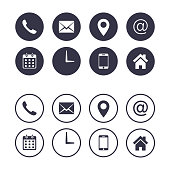 Contact icon set isolated on circle, Vector collection, flat design illustration. Business Calling card elements.