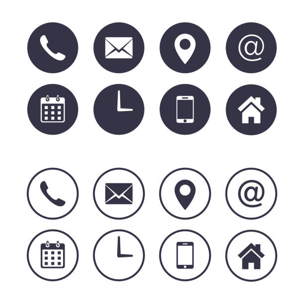 Contact icon set isolated on circle, Vector collection, flat illustration. Business Calling card elements. Contact icon set isolated on circle, Vector collection, flat design illustration. Business Calling card elements. phone stock illustrations