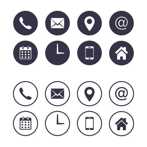 illustrazioni stock, clip art, cartoni animati e icone di tendenza di set di icone di contatto isolato sul cerchio, raccolta vettoriale, illustrazione piatta. elementi del biglietto da visita di business. - data