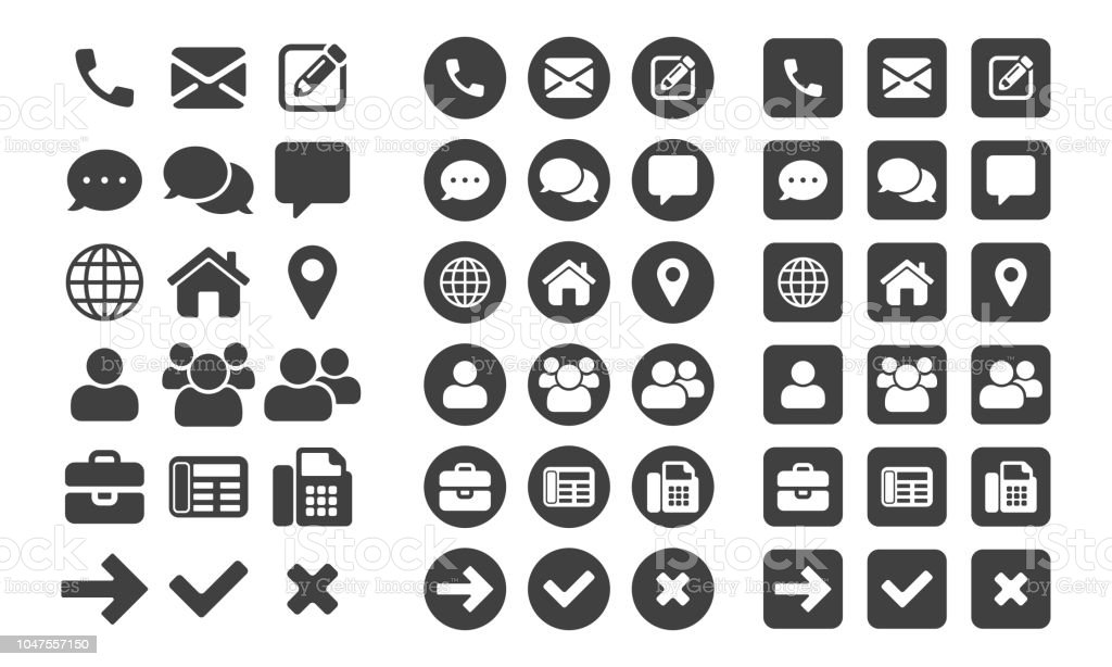 Contact icons and web buttons vector set for or mobile phone and computer UI user interface