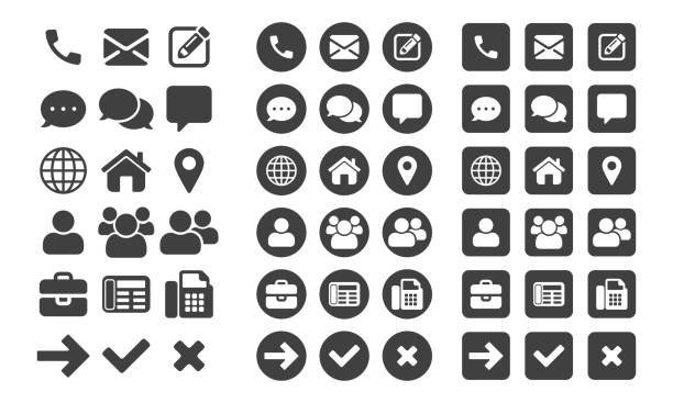 Contact icons and web buttons vector set for or mobile phone and computer UI user interface Contact icons and web buttons vector set for or mobile phone and computer UI user interface navigational equipment stock illustrations