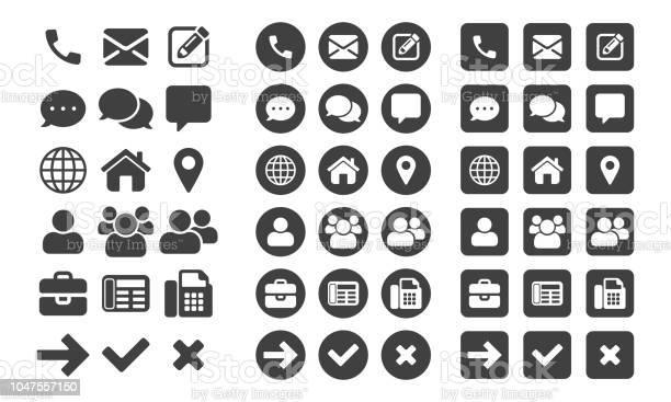 Kontaktieren Sie Symbole Und Webschaltflächen Vektor Für Gesetzt Oder Mobiltelefon Und Computer Ui Benutzeroberfläche Stock Vektor Art und mehr Bilder von Am Telefon