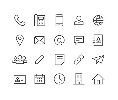 Contact Icons - Classic Line Series