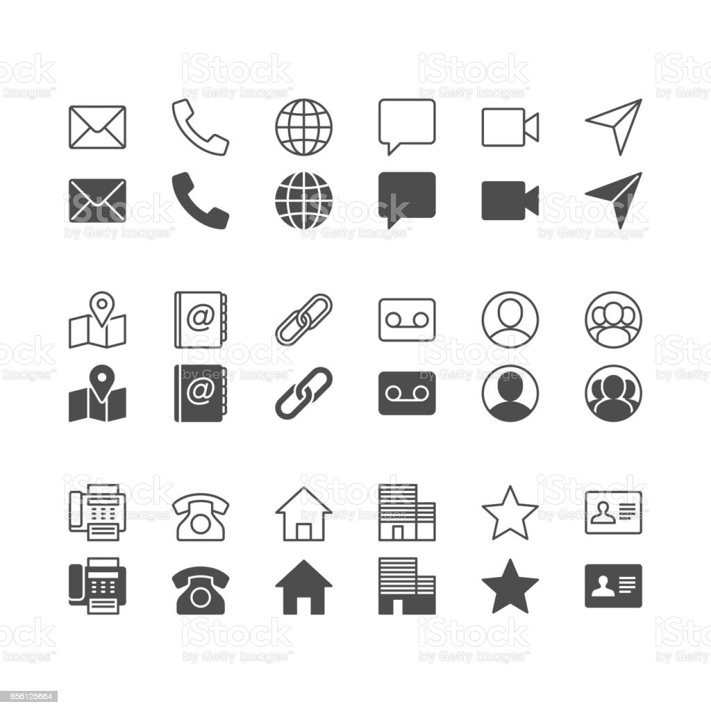 Contact icons, included normal and enable state. vector art illustration