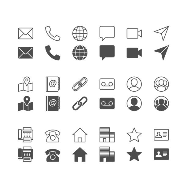 contact icons, included normal and enable state. - email icon stock illustrations, clip art, cartoons, & icons