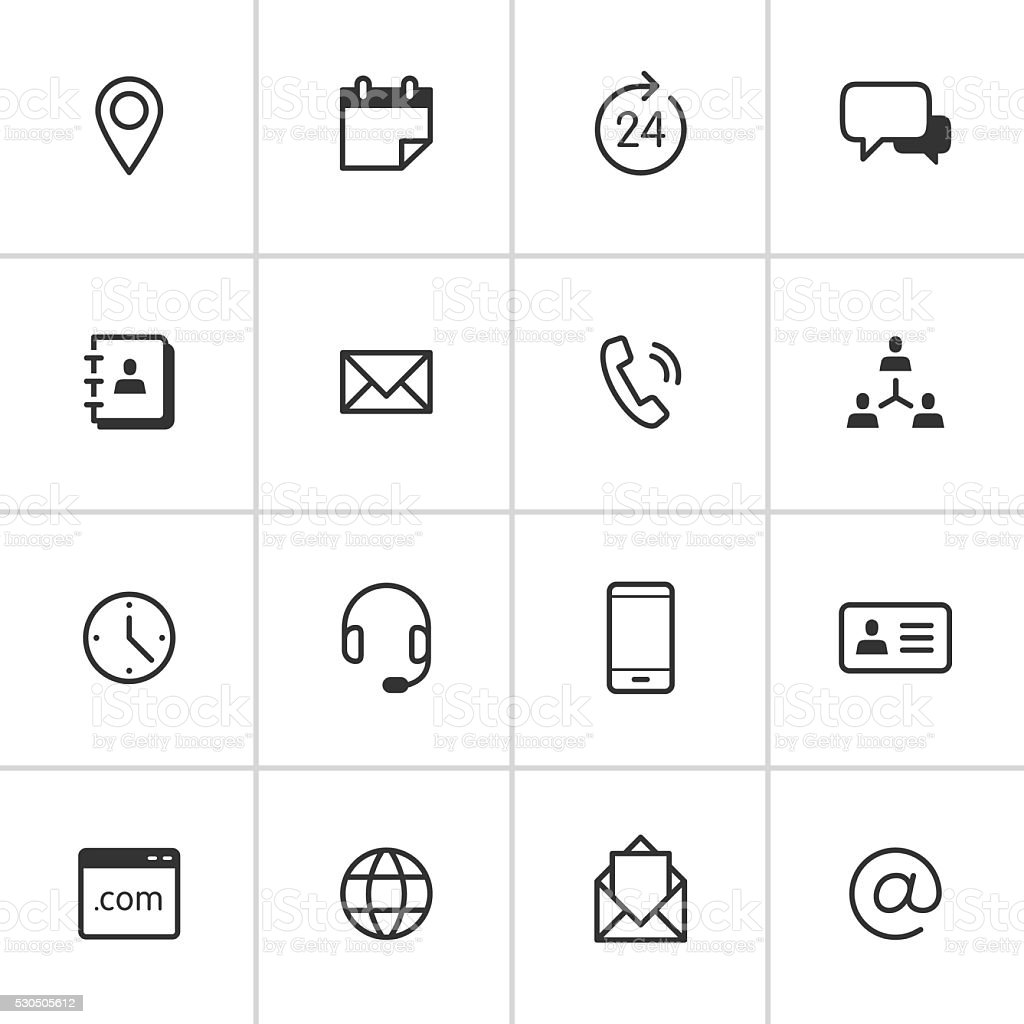 Contact Icons — Inky Series vector art illustration