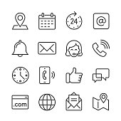 Vector outline icon set appropriate for web and print applications. Designed in 48 x 48 pixel square with 2px editable stroke. Pixel perfect.