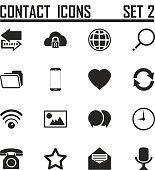 Contact icons on white background, stock vector set 2