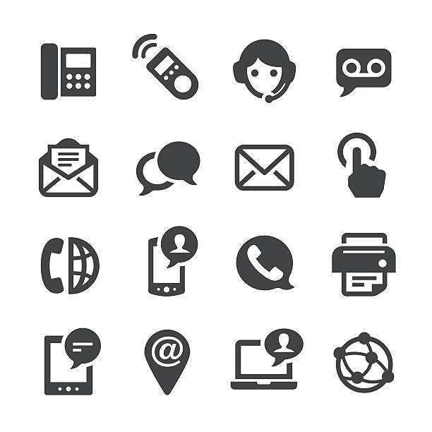 contact icons set - acme series - part of a series stock illustrations, clip art, cartoons, & icons
