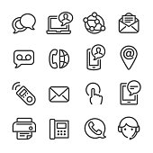 Contact Icons Set - Line Series
