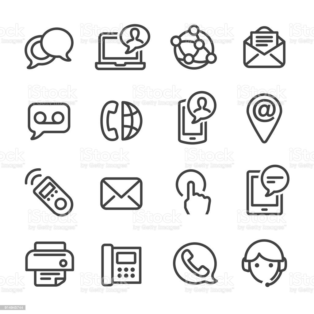 Contact Icons Set - Line Series vector art illustration