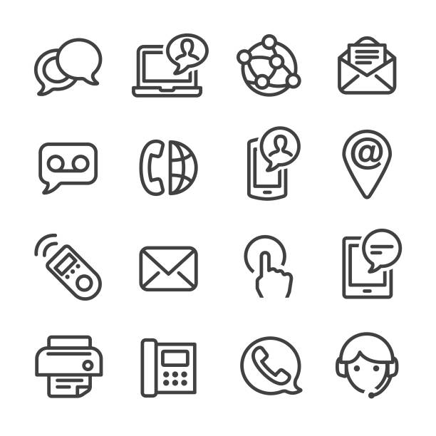 contact icons set - line series - part of a series stock illustrations, clip art, cartoons, & icons