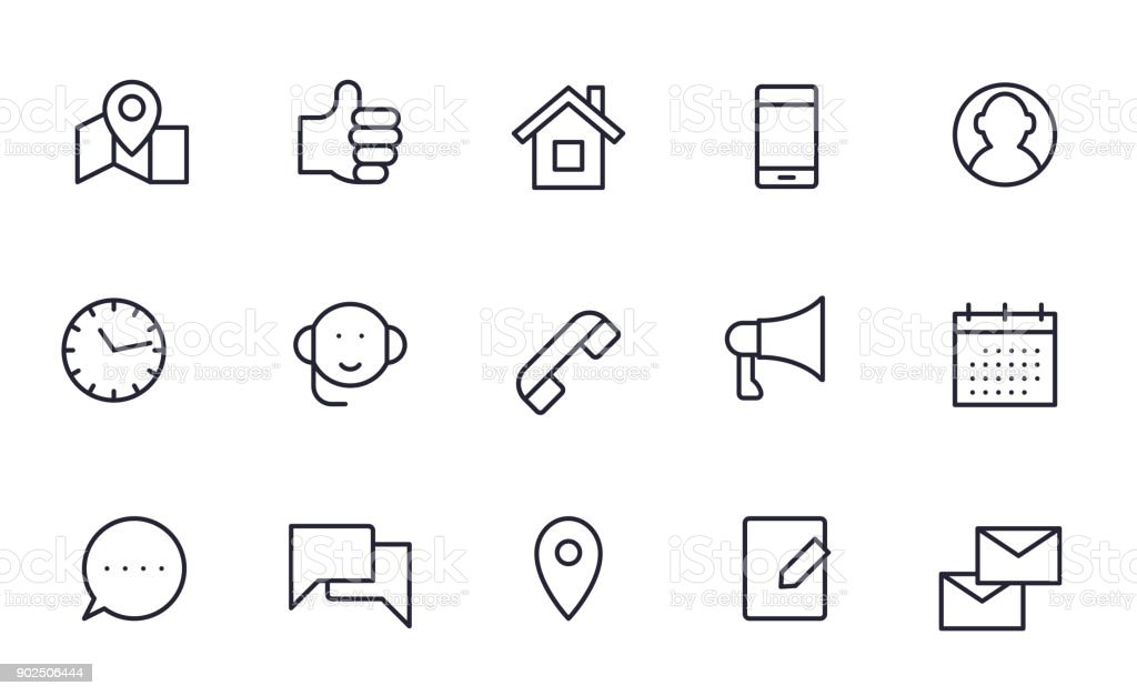 Contact icons set outline style vector art illustration