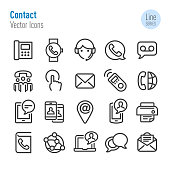 Contact Icons Set - Vector Line Series