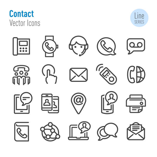 contact icons set - vector line series - part of a series stock illustrations