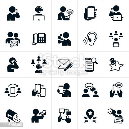 A set of contact us icons. The icons include people talking on a telephone, on smartphones, texting, using a headset, communicating through email, using social media, writing a letter, using a search engine to locate a business, chatting, blogging and other forms of communication.