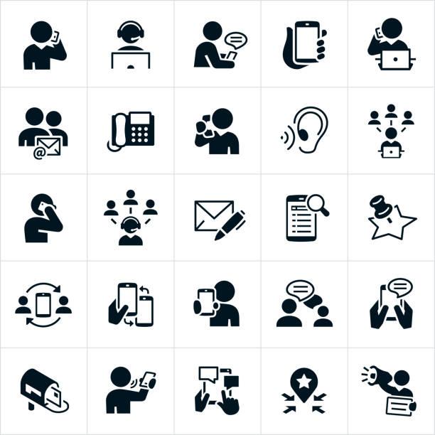 illustrazioni stock, clip art, cartoni animati e icone di tendenza di contact icons - ear talking