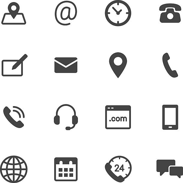 Contact Icons Contact us icons. Simple flat vector icons set on white background full stock illustrations