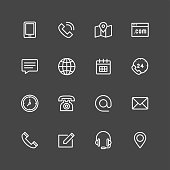 Contact icons - White Series Vector EPS File.