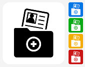 Contact Info Icon. This 100% royalty free vector illustration features the main icon pictured in black inside a white square. The alternative color options in blue, green, yellow and red are on the right of the icon and are arranged in a vertical column.