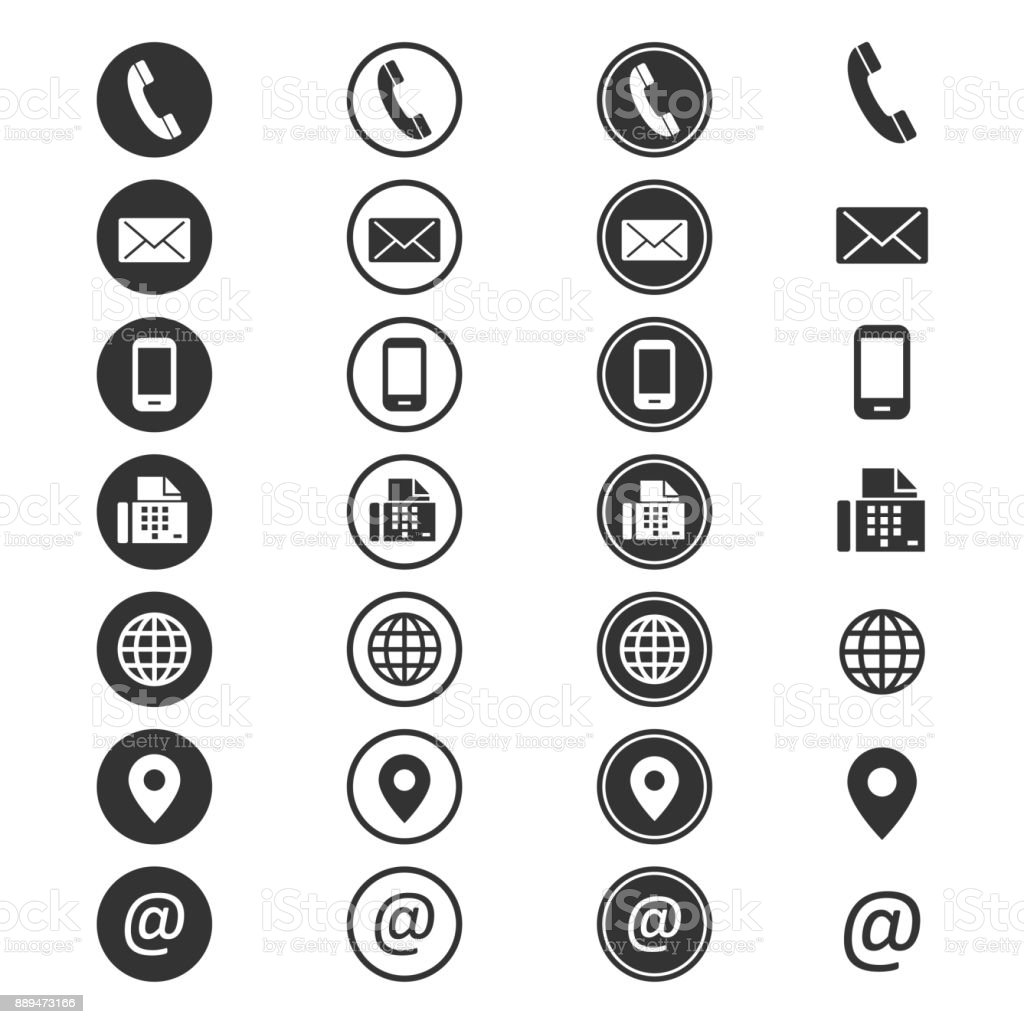 Contact info icon vector art illustration