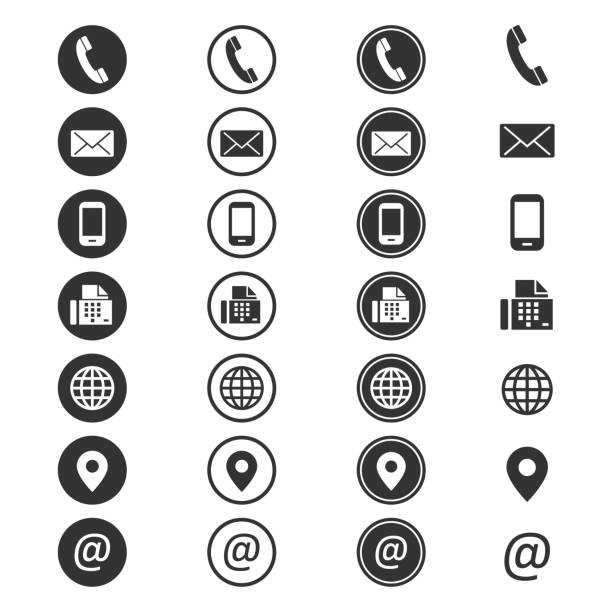 contact info icon - business icons stock illustrations, clip art, cartoons, & icons