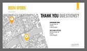 Editable template of presentation slide representing map with two pointers and contact information, multicolored version