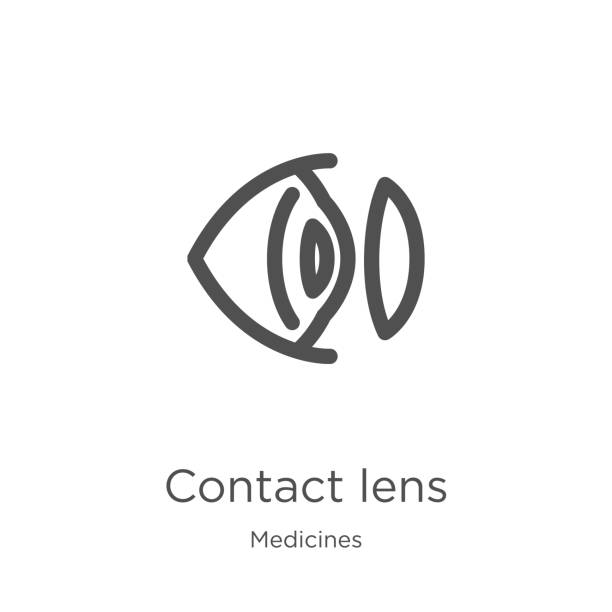 ilustrações de stock, clip art, desenhos animados e ícones de contact lens icon vector from medicines collection. thin line contact lens outline icon vector illustration. outline, thin line contact lens icon for website design and mobile, app development. - contacts