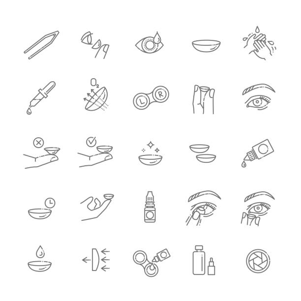 contact lenses icon set. Flat design style Simple Set of Eye Lens Related Vector Line Icons lens eye stock illustrations