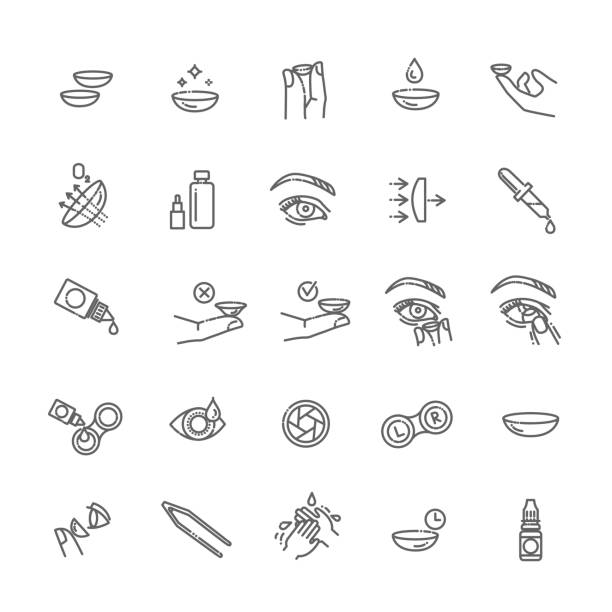 ilustraciones, imágenes clip art, dibujos animados e iconos de stock de conjunto de iconos de lentes de contacto. estilo de diseño plano - lentes contacto