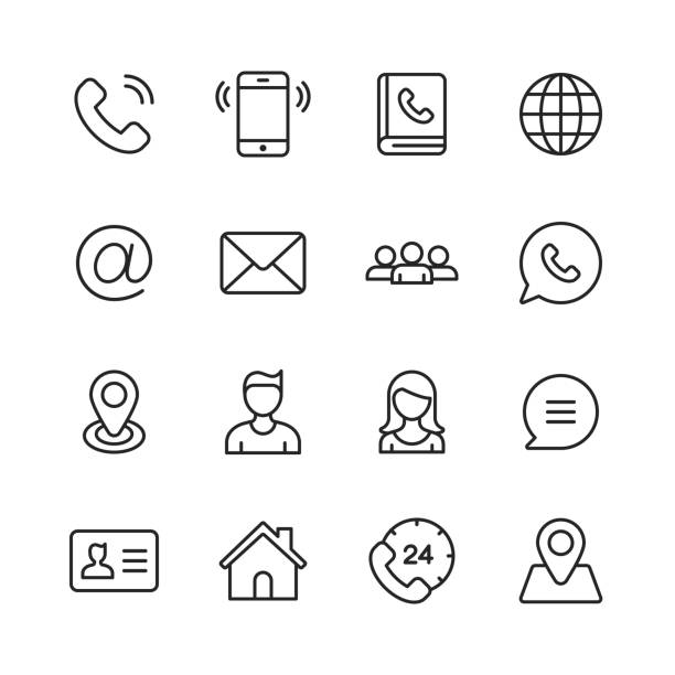 Contact Line Icons. Editable Stroke. Pixel Perfect. For Mobile and Web. Contains such Icons as Smartphone, Customer Support, Messaging, Communication, E-Mail. telephone directory stock illustrations