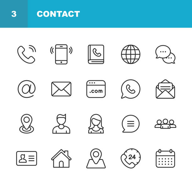Contact Line Icons. Editable Stroke. Pixel Perfect. For Mobile and Web. Contains such icons as Smartphone, Messaging, Email, Calendar, Location. 48x48 telecommunications equipment stock illustrations