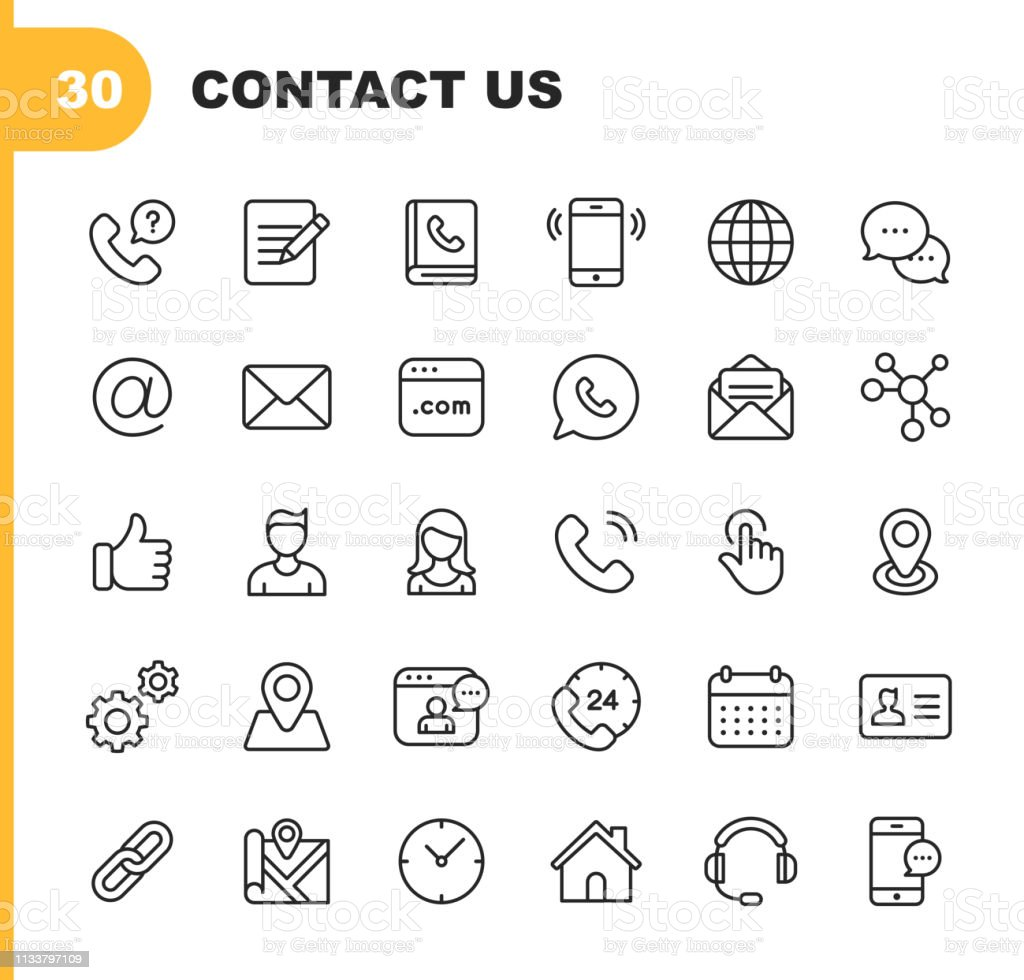 Contact Line Icons. Editable Stroke. Pixel Perfect. For Mobile and Web. Contains such icons as Like Button, Location, Calendar, Messaging, Network. - Grafika wektorowa royalty-free (Biuro)