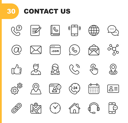 Contact Line Icons. Editable Stroke. Pixel Perfect. For Mobile and Web. Contains such icons as Like Button, Location, Calendar, Messaging, Network. clipart