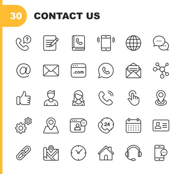 Contact Line Icons. Editable Stroke. Pixel Perfect. For Mobile and Web. Contains such icons as Like Button, Location, Calendar, Messaging, Network. 30 Contact Outline Icons. communication stock illustrations