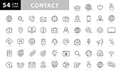 Contact Line Icons. Editable Stroke. Pixel Perfect. For Mobile and Web. Contains such icons as Smartphone, Messaging, Email, Calendar, Location. stock illustration