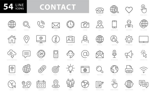 Contact Line Icons. Editable Stroke. Pixel Perfect. For Mobile and Web. Contains such icons as Smartphone, Messaging, Email, Calendar, Location. stock illustration Contact Line Icons. Editable Stroke. Pixel Perfect. For Mobile and Web. Contains such icons as Smartphone, Messaging, Email, Calendar, Location. stock illustration computer equipment stock illustrations