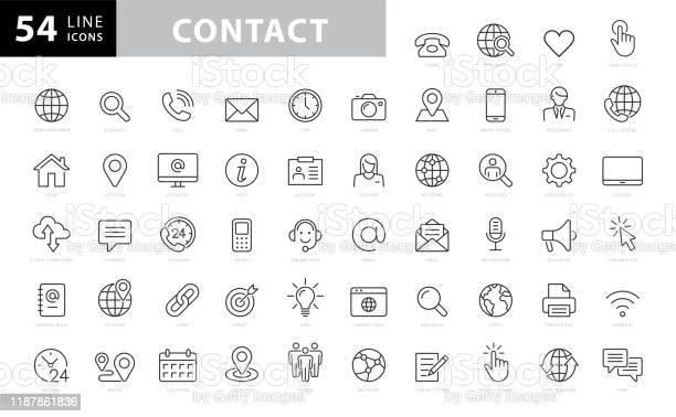 Kontaktzeilensymbole Bearbeitbarer Strich Pixel Perfekt Für Mobile Und Web Enthält Symbole Wie Smartphone Messaging Email Kalender Standort Bestandsabbildung Stock Vektor Art und mehr Bilder von Am Telefon